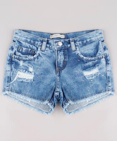 Short-Jeans-Infantil-Destroyed-com-Strass-e-Barra-Desfiada-Azul-Medio-9754255-Azul_Medio_1