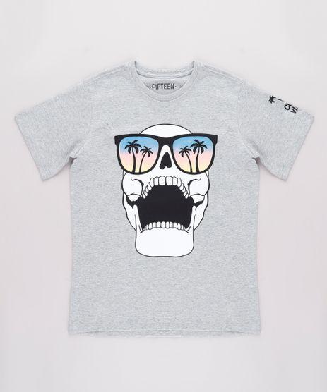 Camiseta-Infantil-Caveira--Cool-Vibes--Manga-Curta-Cinza-Mescla-9732793-Cinza_Mescla_1
