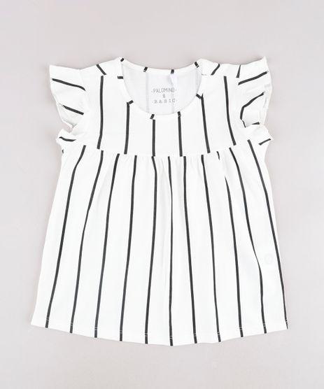 Blusa-Infantil-Listrada-com-Babado-na-Manga---Elastico-de-Cabelo-Scrunchie-Off-White-9826480-Off_White_1