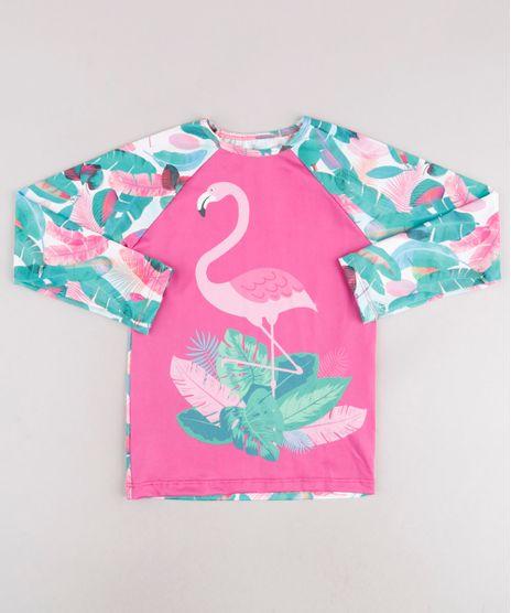 Blusa-de-Praia-Infantil-Raglan-Flamingo-Estampado-de-Folhagem-Manga-Longa-com-Protecao-UV50--Off-White-9740628-Off_White_1