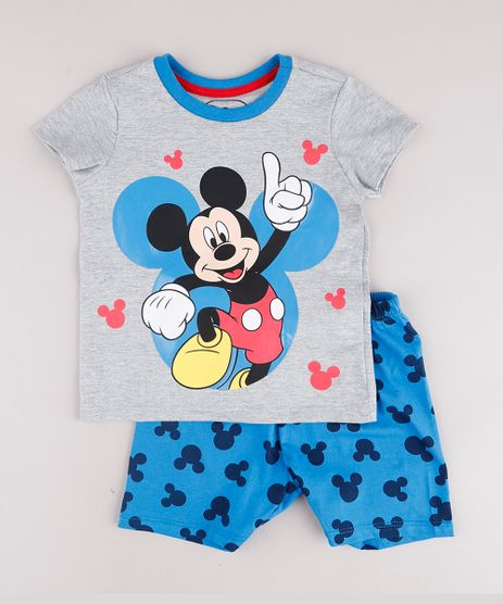 Pijama-Infantil-Mickey-Manga-Curta-Cinza-Mescla-9762288-Cinza_Mescla_1