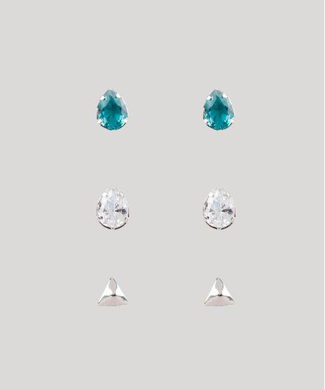 Kit-de-3-Brincos-Femininos-Folheados-com-Pedra-Zirconia-Prateado-9778173-Prateado_1