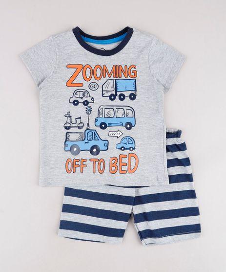Pijama-Infantil-Carros--Zooming-Off-to-Bed--Manga-Curta-Cinza-Mescla-9762291-Cinza_Mescla_1