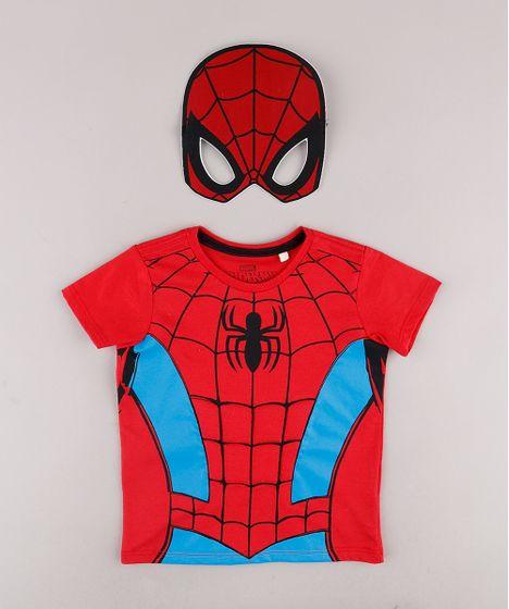 Camiseta Infantil Homem Aranha Manga Curta Mascara Vermelha Cea