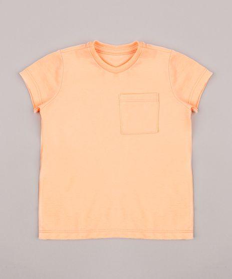 Camiseta-Infantil-com-Bolso-Manga-Curta-Gola-Careca-Laranja-Neon-8574313-Laranja_Neon_1