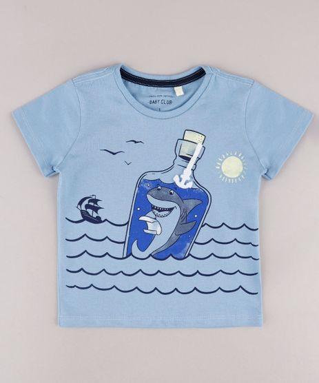 Camiseta-Infantil-com-Estampa-Interativa-de-Tubarao-na-Garrafa-Manga-Curta-Azul-9731955-Azul_1