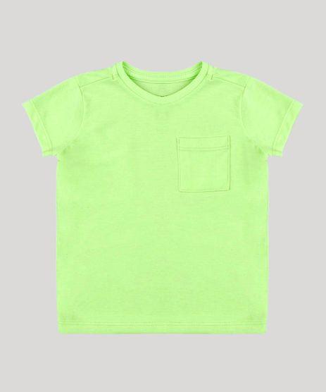 Camiseta-Infantil-com-Bolso-Manga-Curta-Gola-Careca-Verde-Neon-8574313-Verde_Neon_1