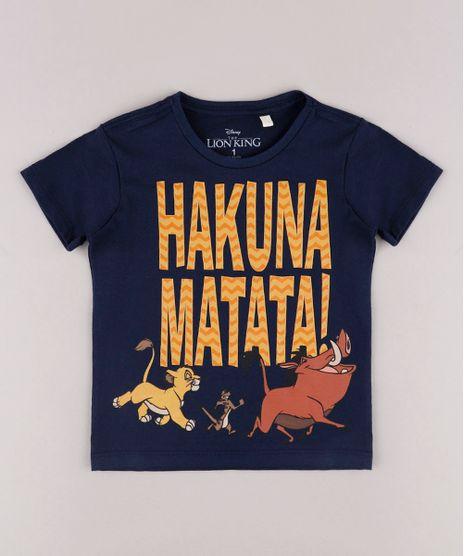 Camiseta-Infantil--Hakuna-Matata---O-Rei-Leao-Manga-Curta-Azul-Marinho-9730451-Azul_Marinho_1