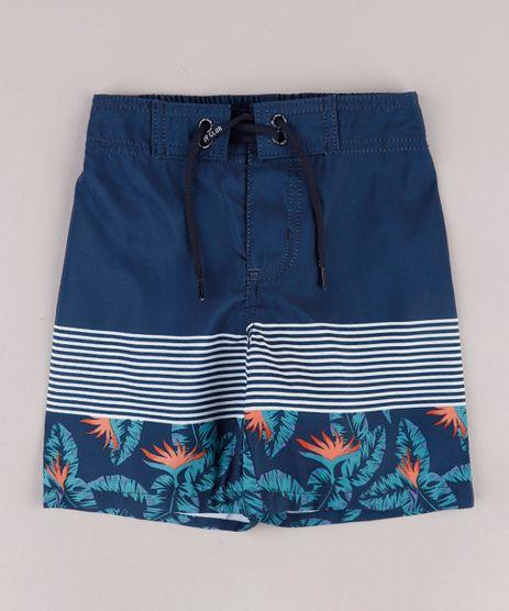 Bermuda-Surf-Infantil-com-Listras-e-Folhagem-Azul-Marinho-9667559-Azul_Marinho_1