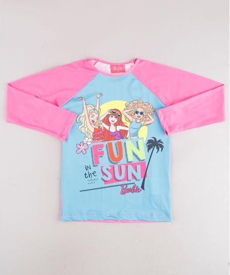 Blusa-de-Praia-Infantil-Barbie-Raglan-Manga-Longa-com-Protecao-UV50--Rosa-Neon-9746899-Rosa_Neon_1