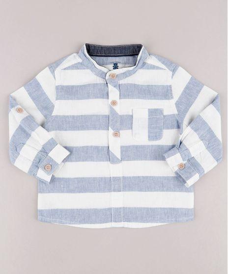 Camisa-Infantil-Listrada-em-Linho-com-Bolso-Manga-Longa-Gola-Padre-Off-White-9681998-Off_White_1