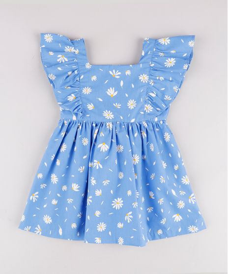 Vestido-Infantil-Estampado-Floral-com-Babado-Manga-Curta-Azul-Claro-9740375-Azul_Claro_1