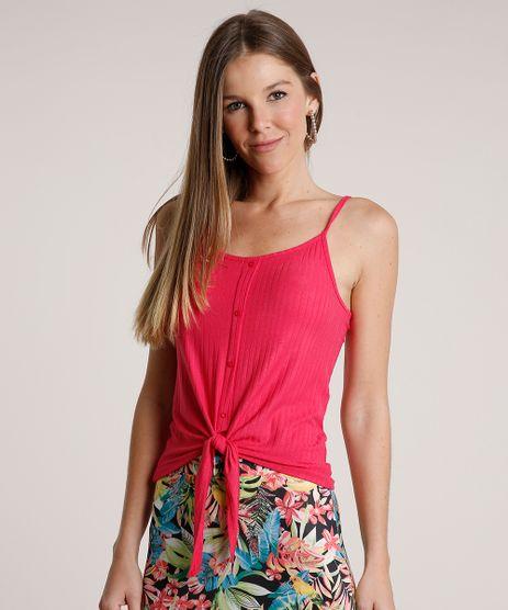 Regata-Feminina-Canelada-com-No-e-Botoes-Alcas-Finas-Decote-Redondo-Rosa-Escuro-9337371-Rosa_Escuro_1_1