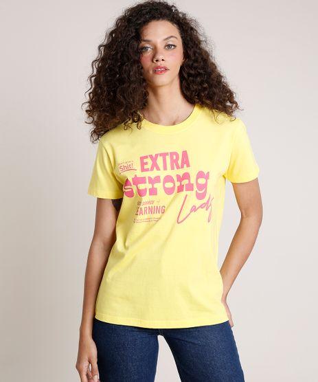 T-Shirt-Feminina-Mindset--Extra-Strong-Lady--Manga-Curta-Decote-Redondo-Amarela-9846881-Amarelo_1