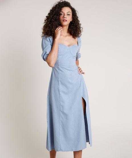 Vestido-Jeans-Feminino-Mindset-Midi-com-Fenda-Manga-Bufante-Azul-Claro-9856296-Azul_Claro_1