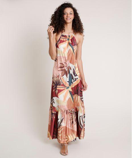 Vestido-Feminino-Mindset-Longo-Frente-Unica-Acetinado-Estampado-de-Folhagem-Caramelo-9857338-Caramelo_1
