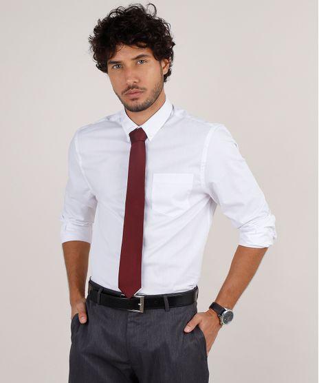 Kit-de-Camisa-Masculina-Social-Comfort-Manga-Longa---Gravata-em-Jacquard-Branca-9639466-Branco_1