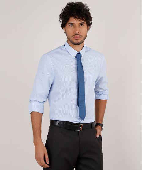 Kit-de-Camisa-Masculina-Social-Comfort-Listrada-Manga-Longa---Gravata-em-Jacquard-Azul-Claro-9639462-Azul_Claro_1