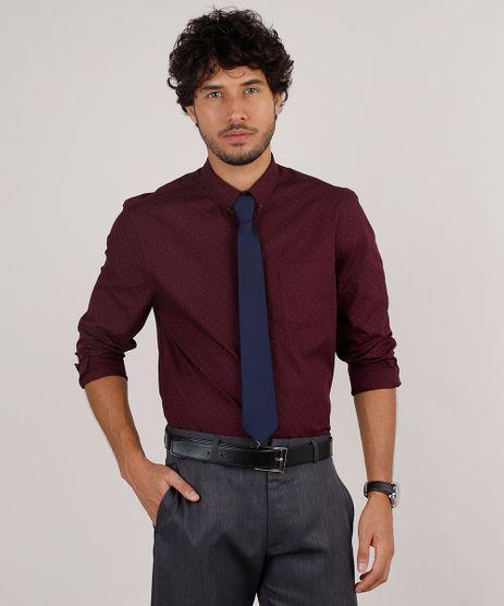 Kit-de-Camisa-Masculina-Social-Comfort-Estampada-de-Poa-Manga-Longa---Gravata-em-Jacquard-Vinho-9639467-Vinho_1