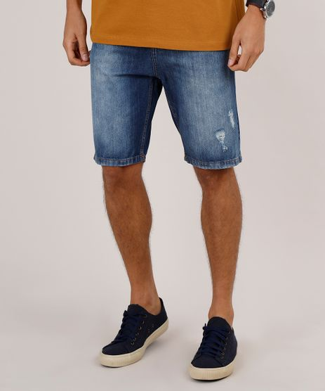 Bermuda-Jeans-Masculina-Slim-com-Rasgos--Azul-Escuro-9771349-Azul_Escuro_1