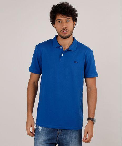 Polo-Masculina-Comfort-Listrada-em-Piquet-com-Bordado-Manga-Curta-Azul-9725320-Azul_1