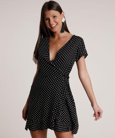 Vestido-Feminino-Curto-Envelope-Estampado-de-Poa-Manga-Curta-Preto-9807894-Preto_1
