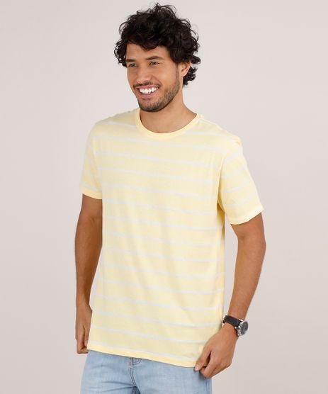 Camiseta-Masculina-Basica-Listrada-Manga-Curta-Gola-Careca-Amarela-9776628-Amarelo_1