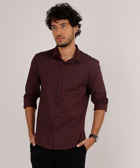 Camisa-Masculina-Slim-Fit-Estampada-Manga-Longa-Vinho-9657373-Vinho_1