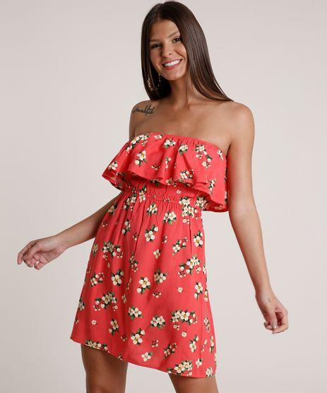 Vestido-Feminino-Curto-Ciganinha-Estampado-Floral-Manga-Curta-Coral-9691586-Coral_1