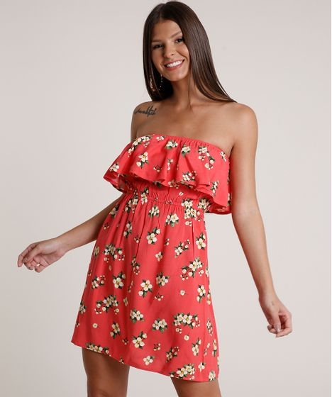 Vestido Feminino Curto Ciganinha Estampado Floral Manga Curta Coral