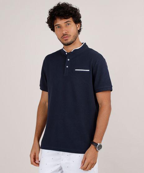 Polo-Masculina-Comfort-em-Piquet-com-Bolso-Manga-Curta-Gola-Padre-Azul-Marinho-9650502-Azul_Marinho_1