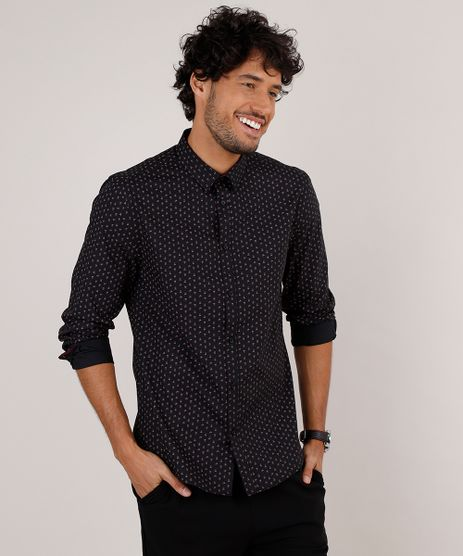 Camisa-Masculina-Slim-Fit-Estampada-Floral-Manga-Longa-Preta-9657144-Preto_1