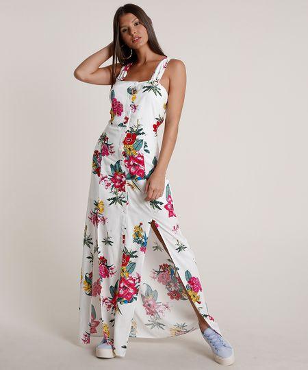 Menor preço em Vestido Feminino Longo Estampado Floral Alça Larga Off White - GG