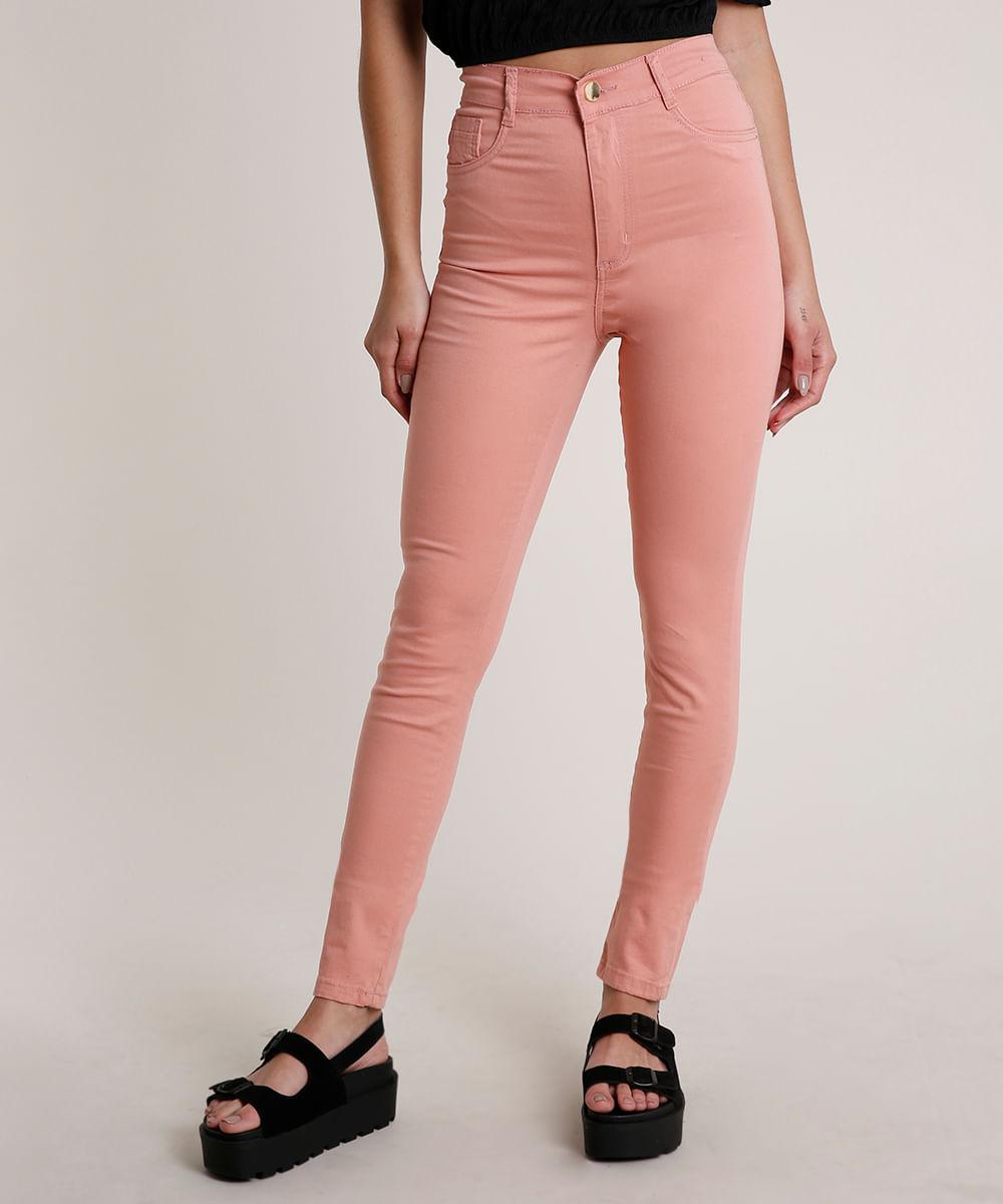 Calça de Sarja Feminina Sawary Skinny Cintura Super Alta Rosê