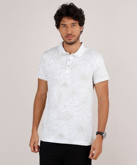Polo-Masculina-Slim-Fit-em-Piquet-Estampada-Floral-Manga-Curta-Off-White-9648176-Off_White_1