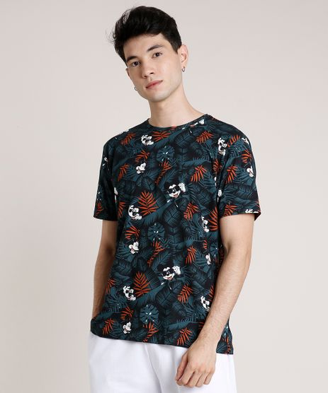 Camiseta-Masculina-Mickey-Estampada-de-Folhagem-Manga-Curta-Gola-Careca-Verde-9810334-Verde_1