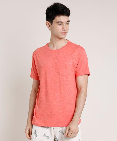 Camiseta-Masculina-com-Bolso-Manga-Curta-Gola-Careca-Coral-9752727-Coral_1