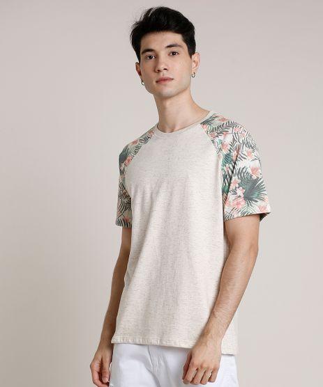 Camiseta-Masculina-Raglan-Estampada-de-Folhagem-Manga-Curta-Gola-Careca-Bege-Claro-9742101-Bege_Claro_1