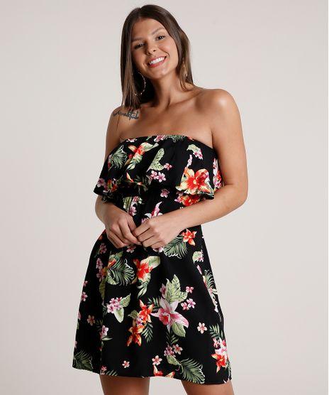 Vestido-Feminino-Curto-Ciganinha-Estampado-Floral-Manga-Curta-Preto-9691584-Preto_1