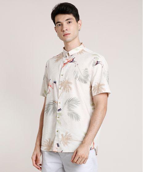 Camisa-Masculina-Tradicional-Estampada-de-Passaros-Manga-Curta-Bege-Claro-9729728-Bege_Claro_1