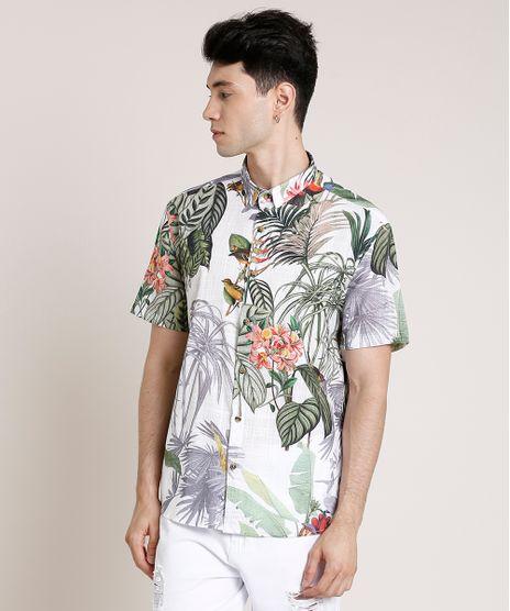 Camisa-Masculina-Tradicional-Estampada-de-Folhagem-Manga-Curta-Branca-9768645-Branco_1