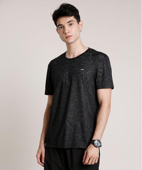 Camiseta Masculina Esportiva Ace Estampada Camuflada Manga Curta Gola Careca Preta