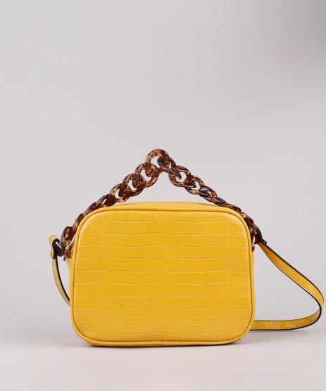 Bolsa-Feminina-Transversal-Pequena-Croco-com-Corrente-Mostarda-9604645-Mostarda_1