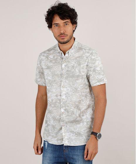 Camisa-Masculina-Relaxed-Estampada-de-Coqueiros-Manga-Curta-Bege-Claro-9645930-Bege_Claro_1