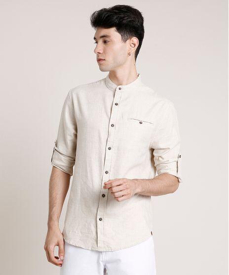 Camisa-Masculina-Tradicional-com-Bolso-Manga-Longa-Gola-Padre-Bege-Claro-9649255-Bege_Claro_1