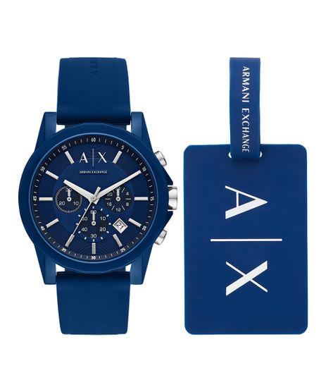 Kit-de-Relogio-Analogico-Armani-Exchange-Masculino---Tag-de-Mala---AX71078AN-Azul-9861826-Azul_1