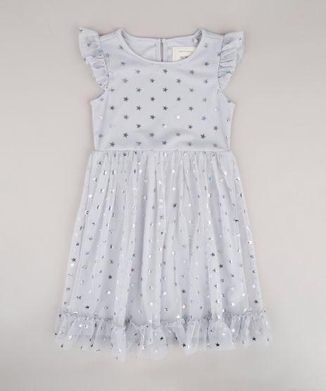Vestido-Infantil-em-Tule-Estampado-de-Estrelas-com-Babado-na-Manga-Cinza-9682149-Cinza_1