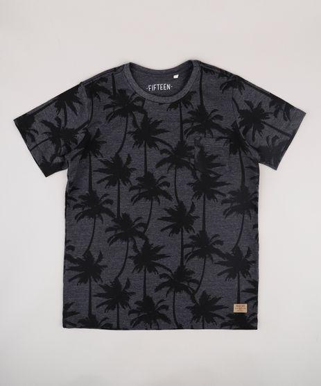 Camiseta-Infantil-Estampada-de-Coqueiros-com-Bolso-Manga-Curta--Cinza-Mescla-Escuro-9732784-Cinza_Mescla_Escuro_1