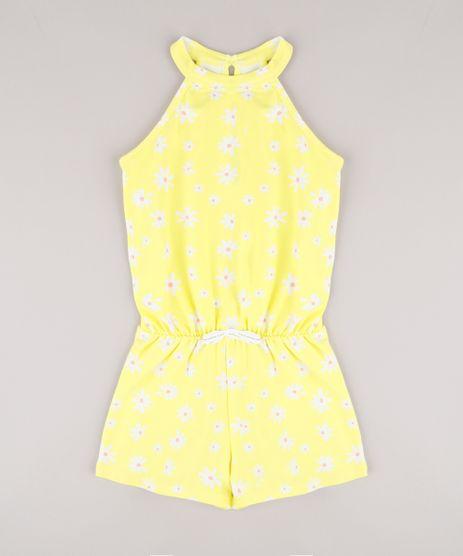 Macaquinho-Infantil-Halter-Neck-Estampado-Floral-com-Laco--Amarelo-9762704-Amarelo_1