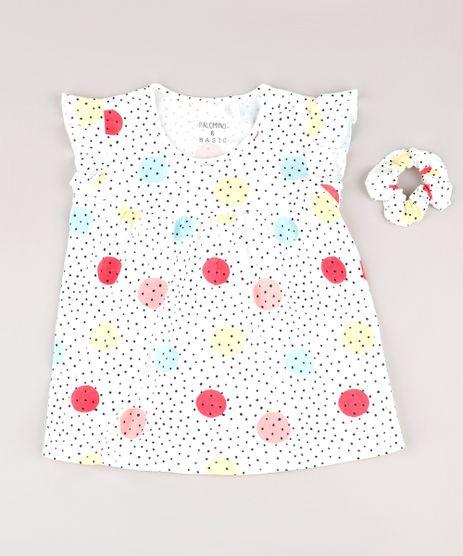 Blusa-Infantil-Estampada-de-Poa-com-Babado-na-Manga---Elastico-de-Cabelo-Scrunchie-Off-White-9826457-Off_White_1